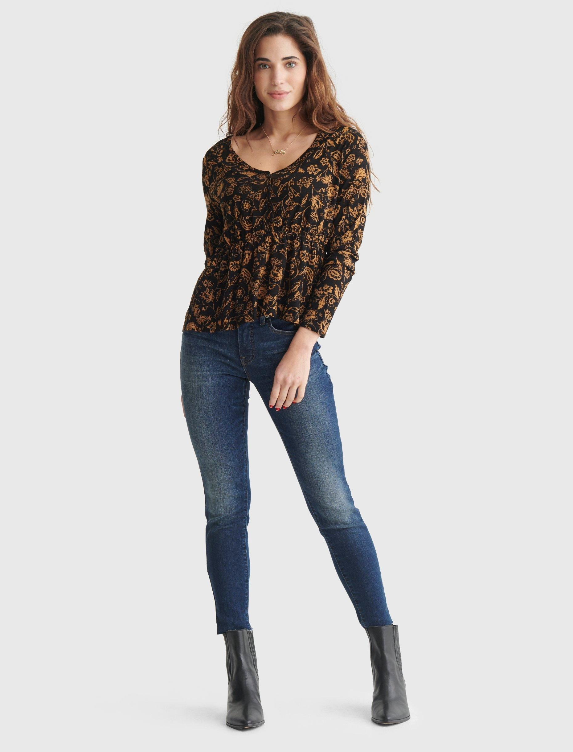 RELAXED-FIT PEPLUM V-NECK TOP, image 2