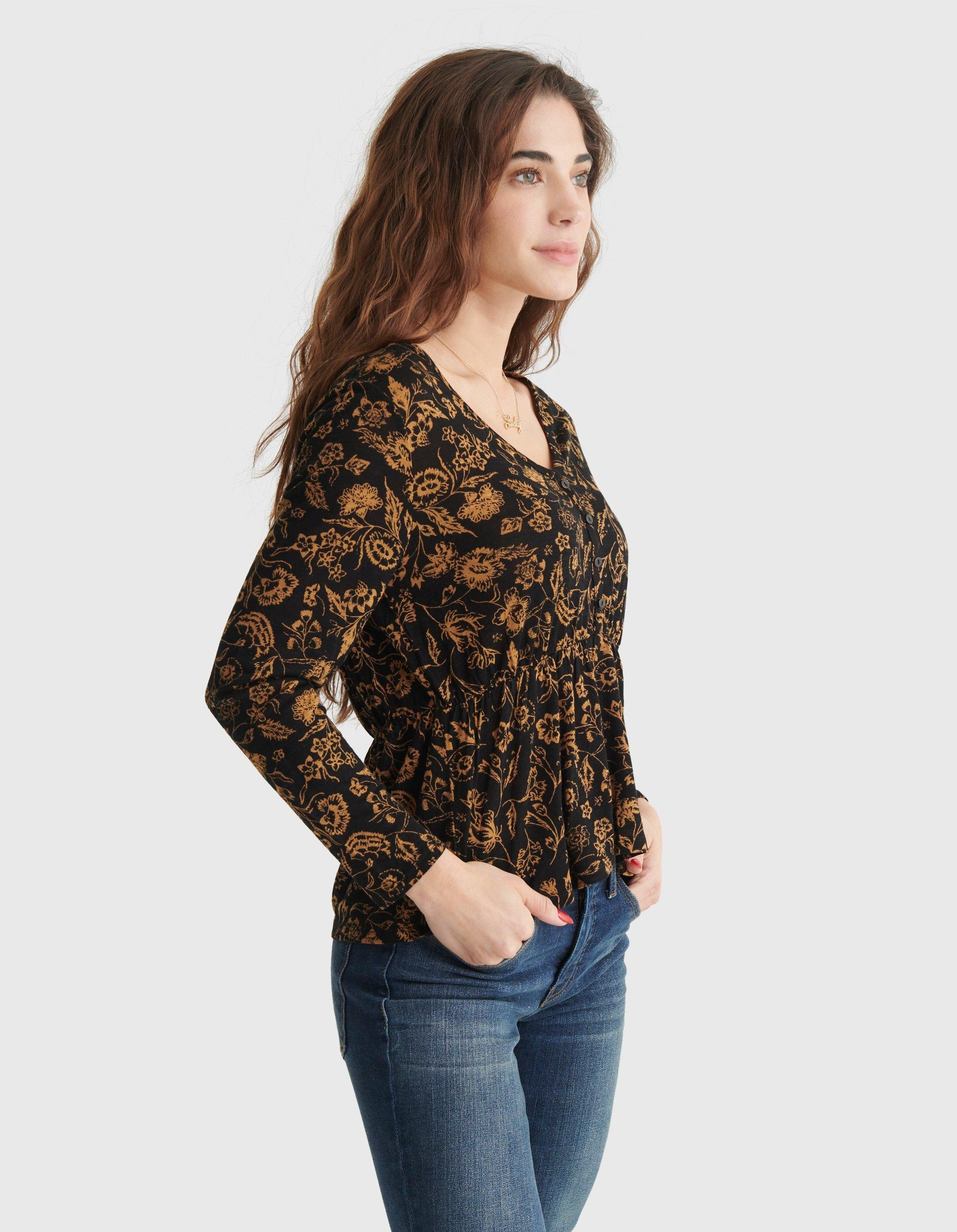 RELAXED-FIT PEPLUM V-NECK TOP, image 3