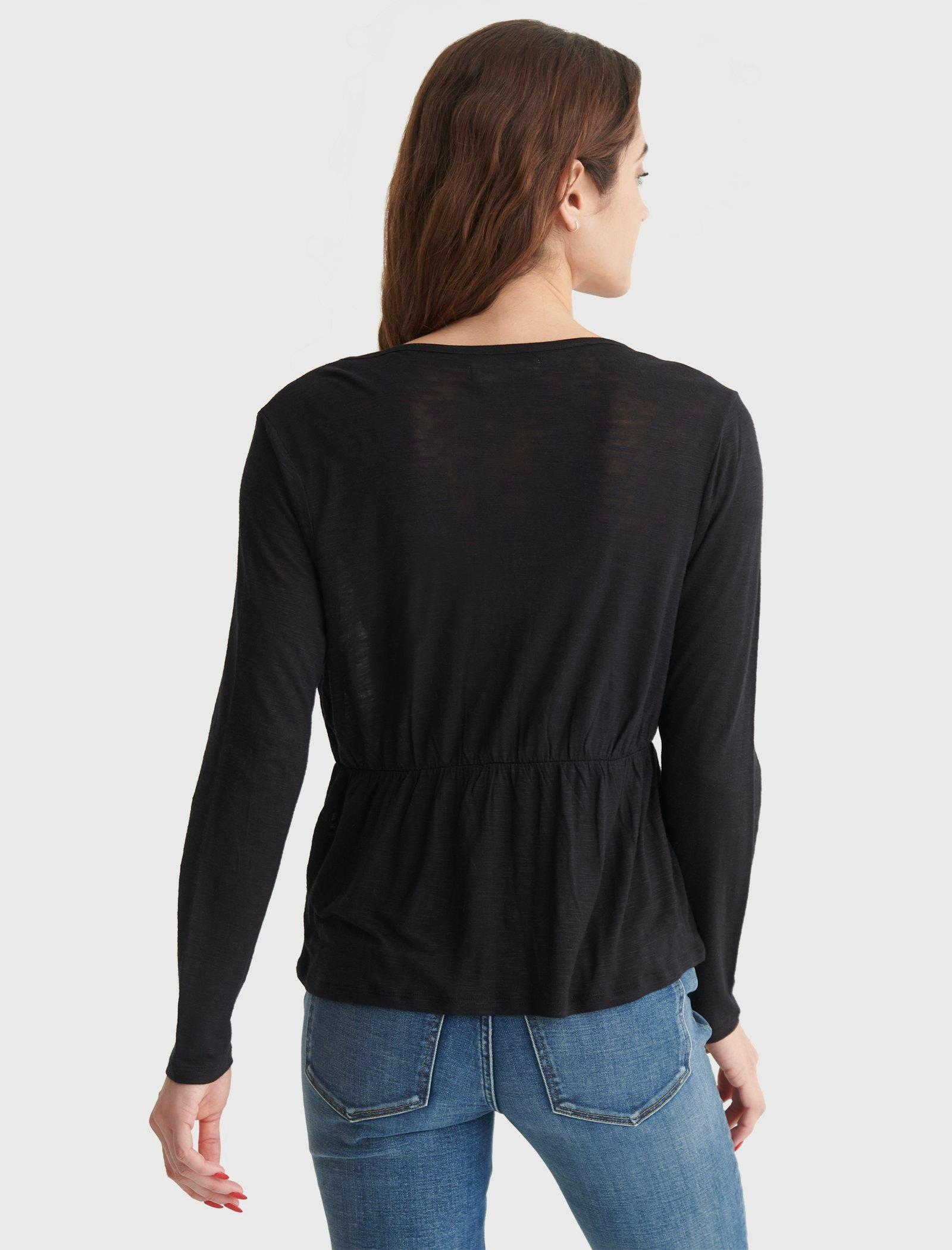 RELAXED-FIT PEPLUM V-NECK TOP, image 5