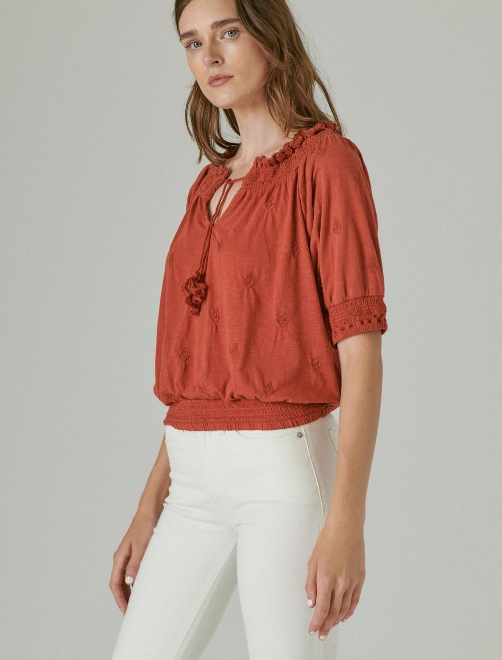 SHORT SLEEVE TIE FRONT PEASANT, image 2