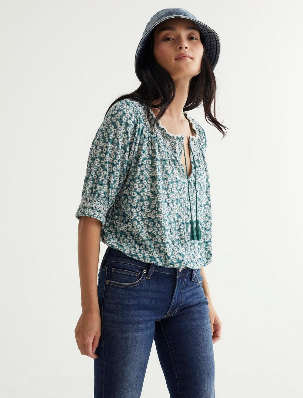 SHORT SLEEVE TIE FRONT PEASANT, image 6