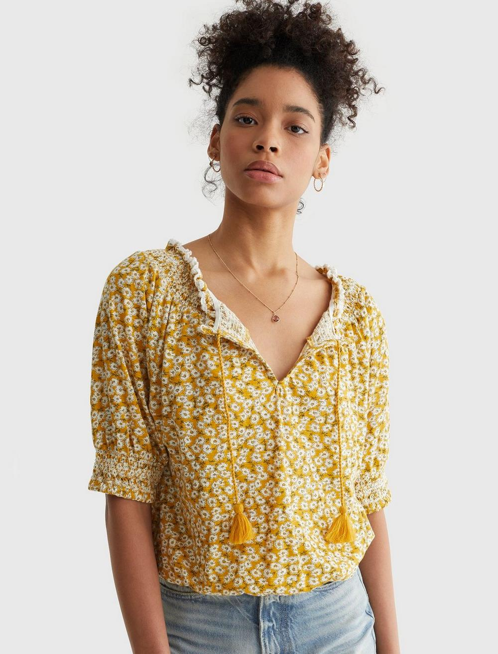 SHORT SLEEVE TIE FRONT PEASANT, image 1