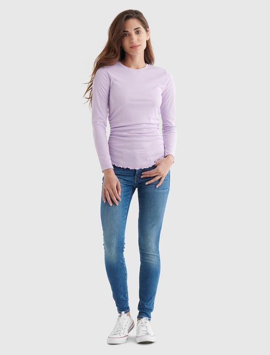 SANDWASH RIB LONG SLEEVE RUCHED TEE, #5117 ORCHID BLOOM, productTileDesktop