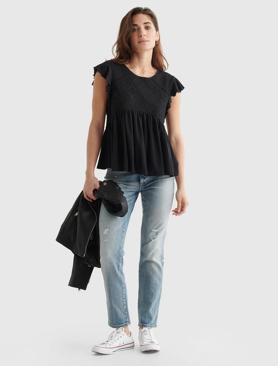 SHORT SLEEVE EMBROIDERED DOLMAN TOP, JET BLACK, productTileDesktop