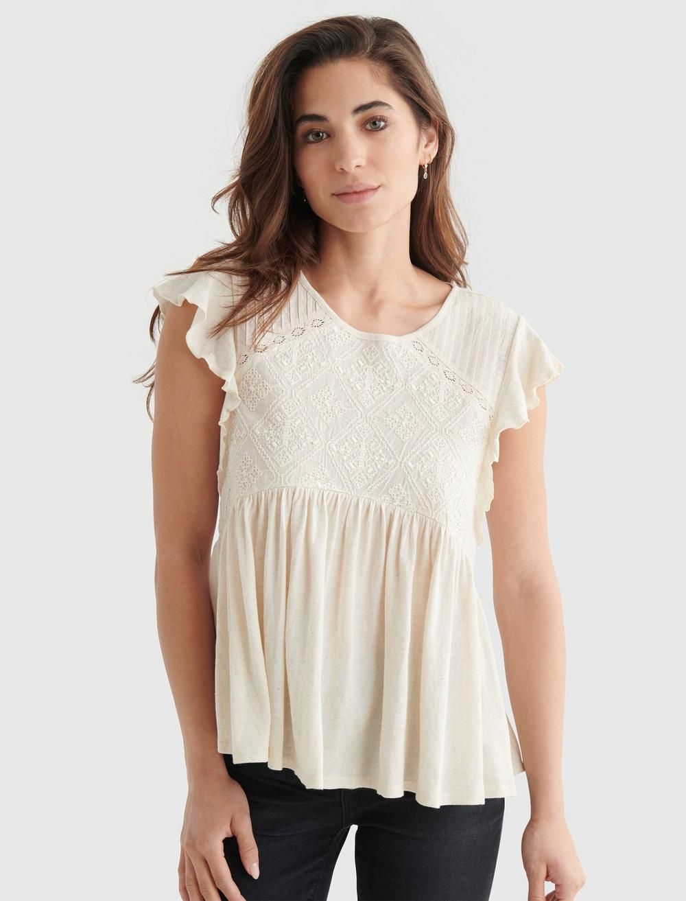 SHORT SLEEVE EMBROIDERED DOLMAN TOP, image 1