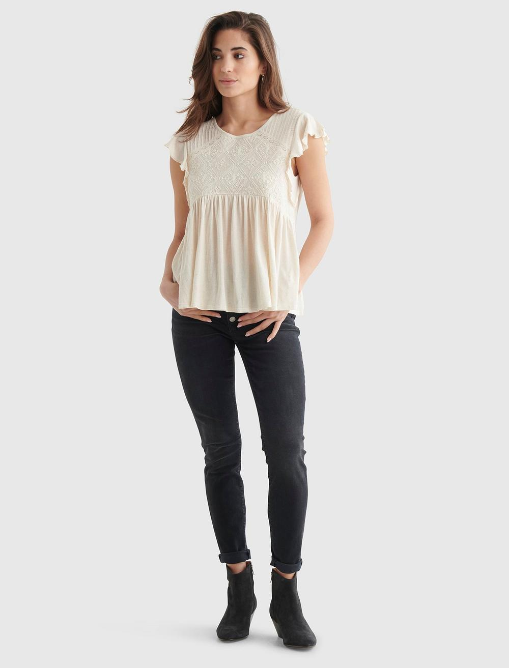 SHORT SLEEVE EMBROIDERED DOLMAN TOP, image 2