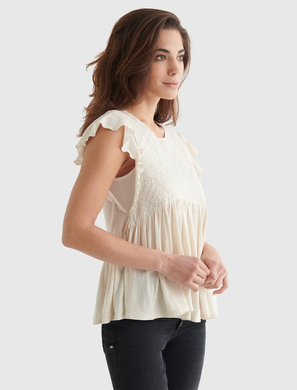 SHORT SLEEVE EMBROIDERED DOLMAN TOP, image 3