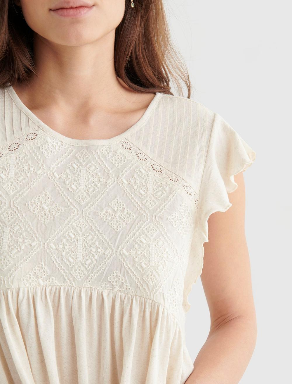 SHORT SLEEVE EMBROIDERED DOLMAN TOP, image 4