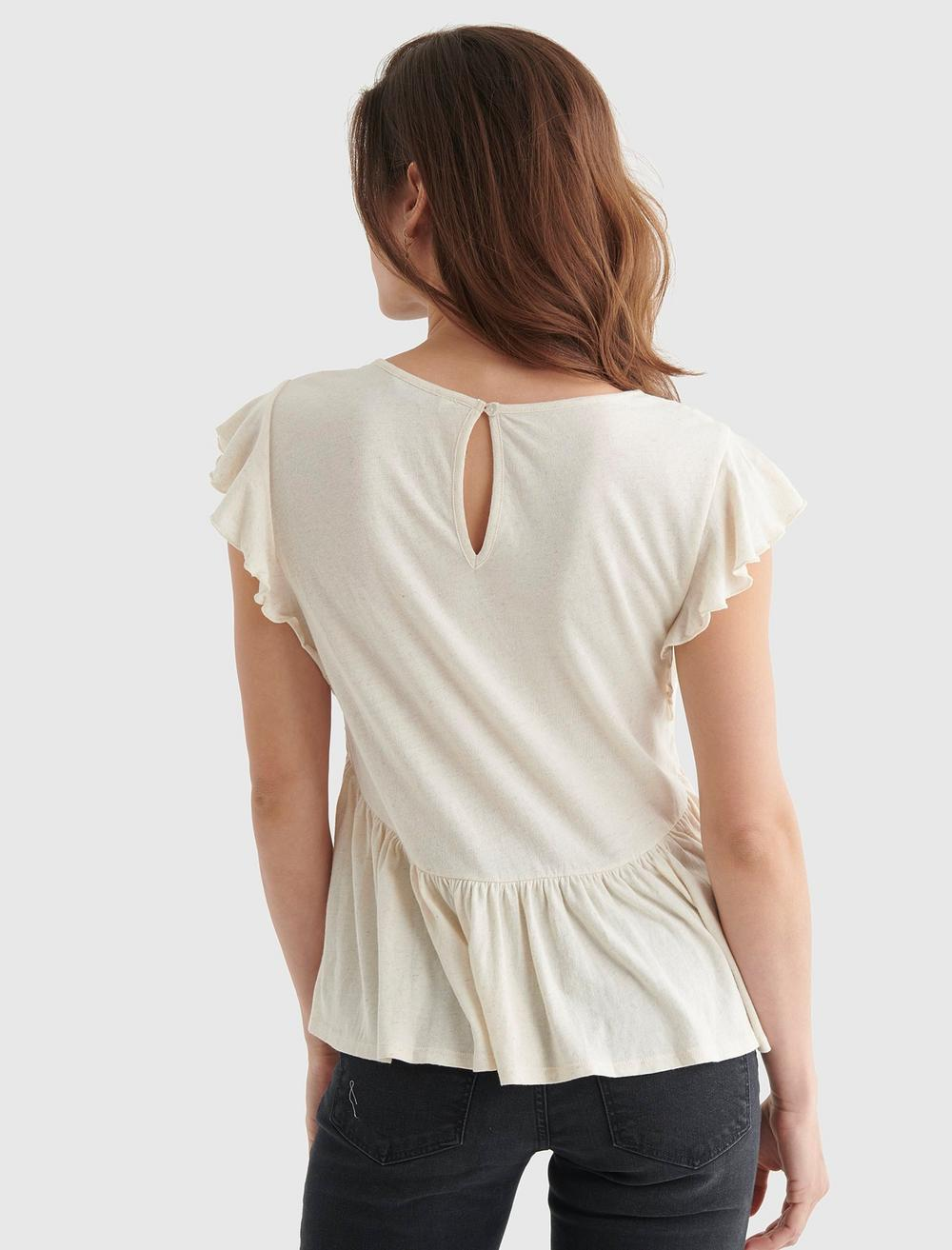 SHORT SLEEVE EMBROIDERED DOLMAN TOP, image 5