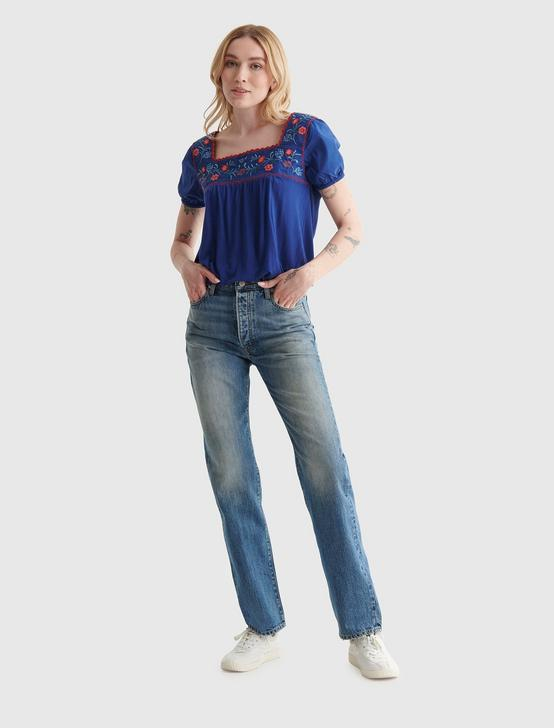 EMBROIDERED ANGLAISE SQUARE NECK BLOUSE, #4268 ROYAL BLUE, productTileDesktop
