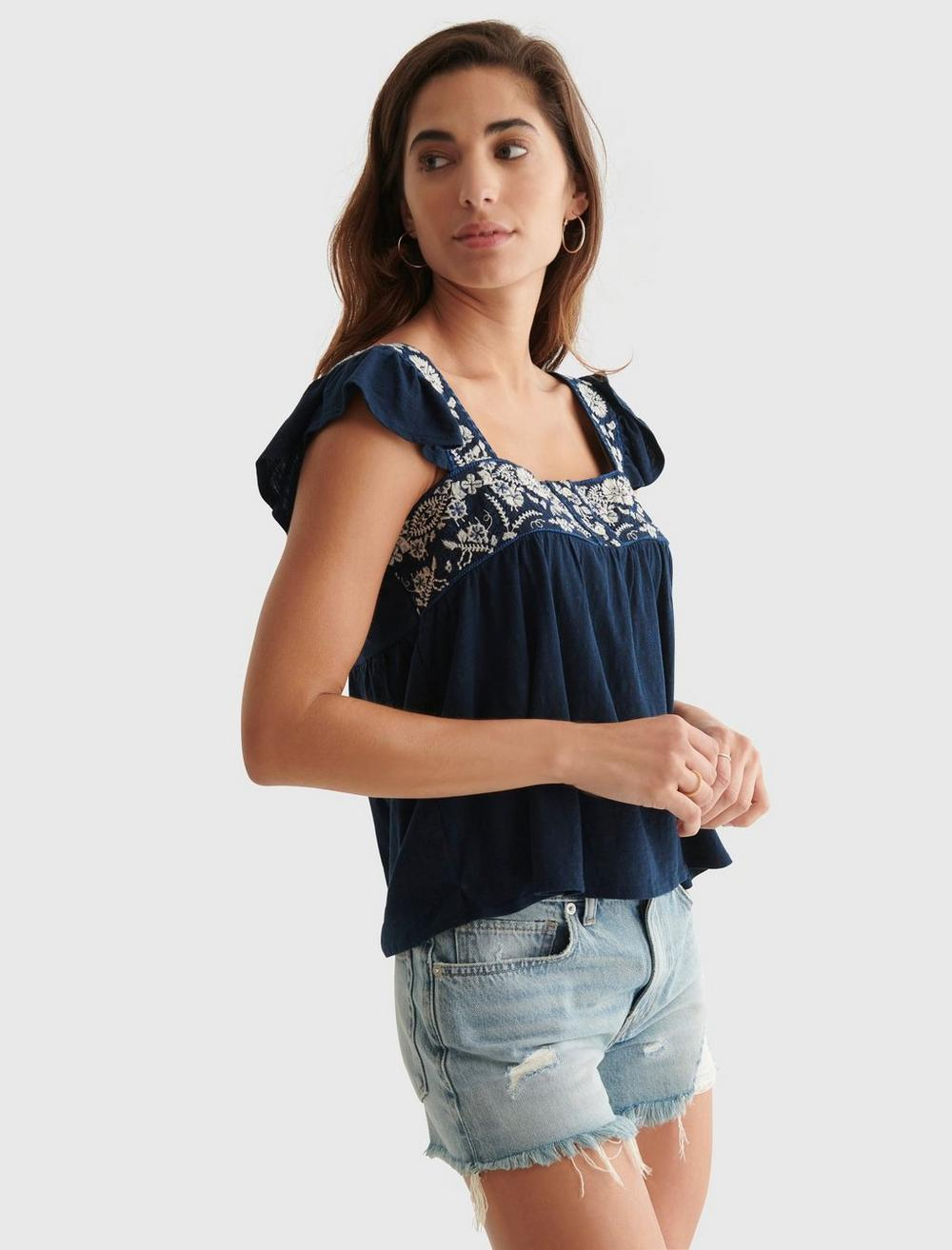 EMBROIDERED SQUARE BUTTON TOP, image 3