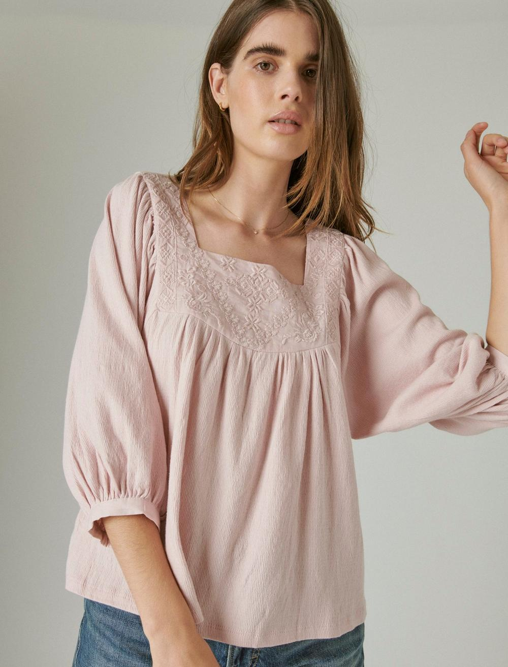 TONAL EMBROIDERED SQUARE NECK BLOUSE, image 1