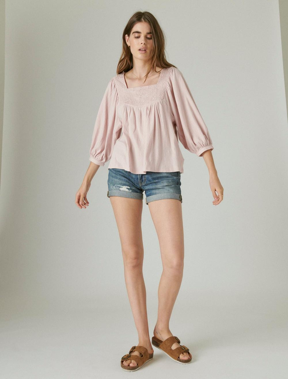 TONAL EMBROIDERED SQUARE NECK BLOUSE, image 2