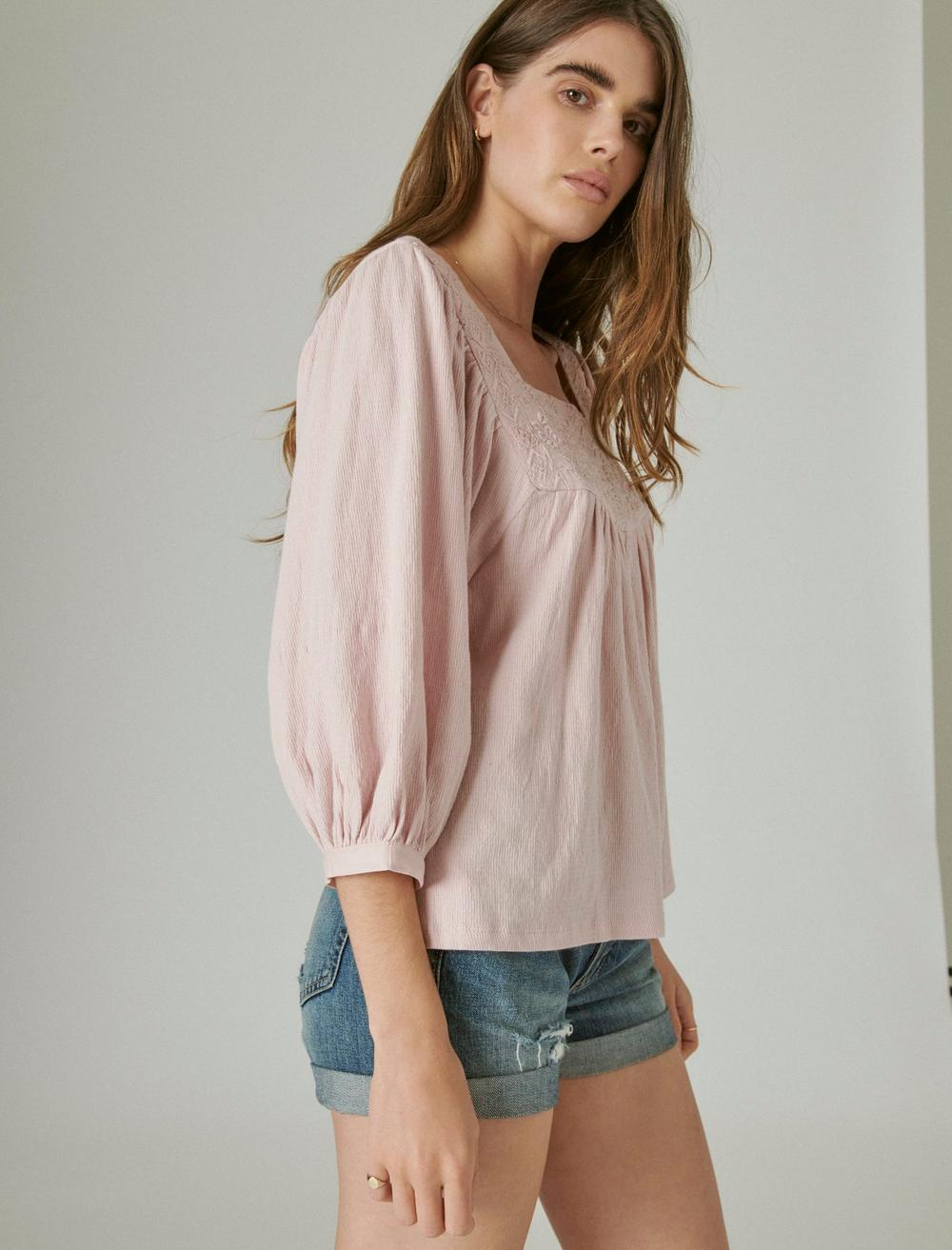 TONAL EMBROIDERED SQUARE NECK BLOUSE, image 3