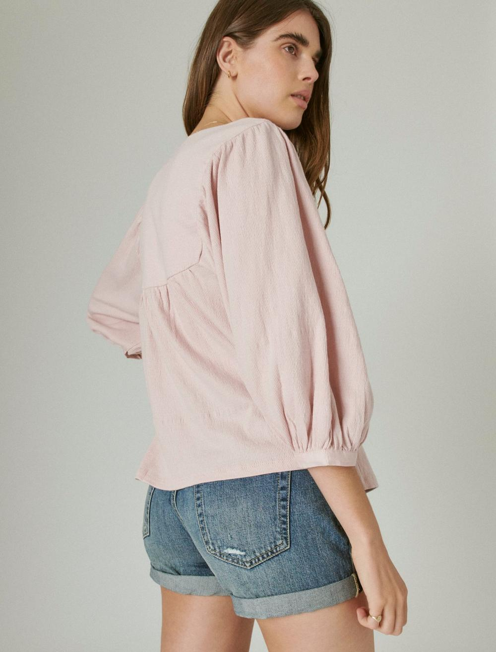 TONAL EMBROIDERED SQUARE NECK BLOUSE, image 4