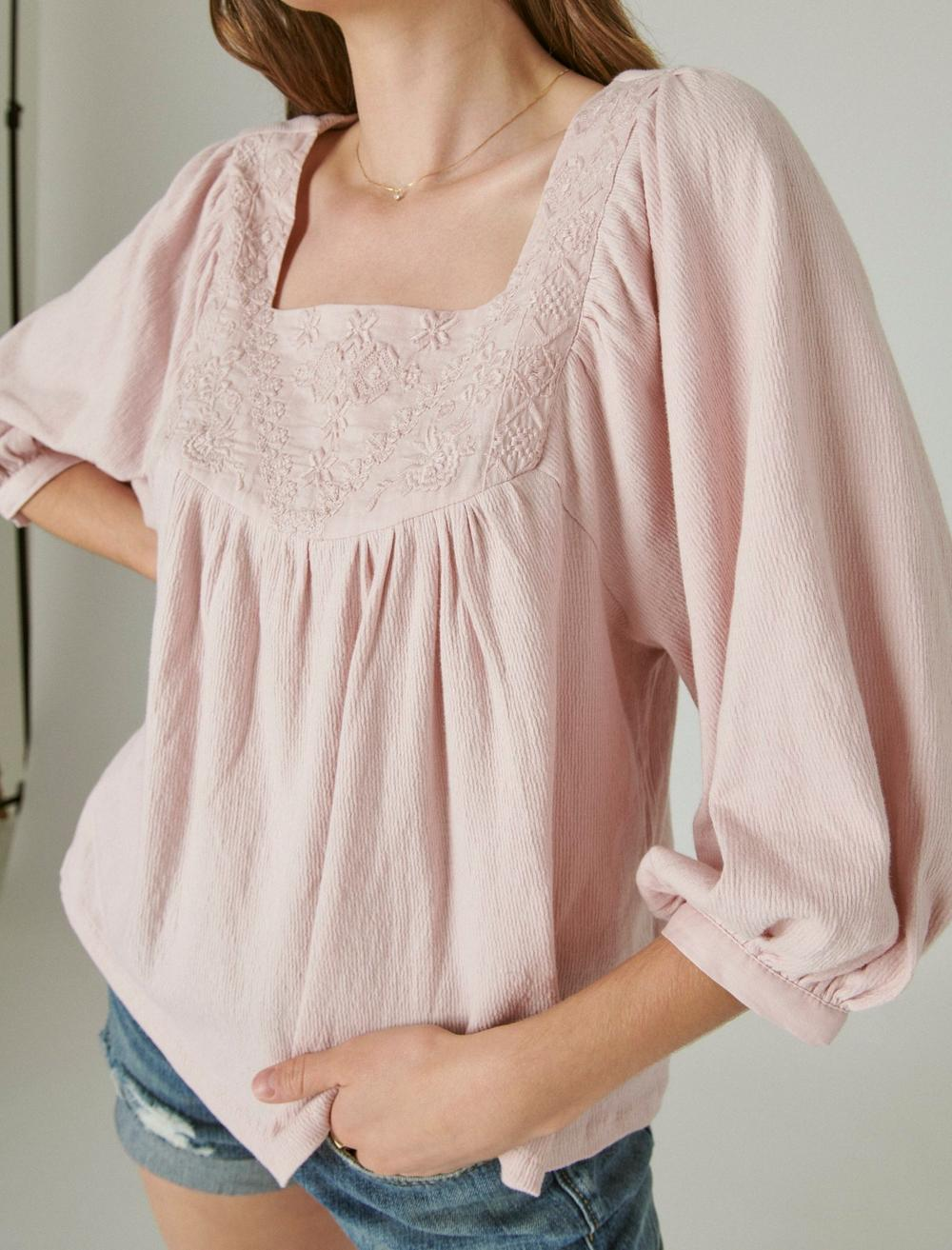 TONAL EMBROIDERED SQUARE NECK BLOUSE, image 5