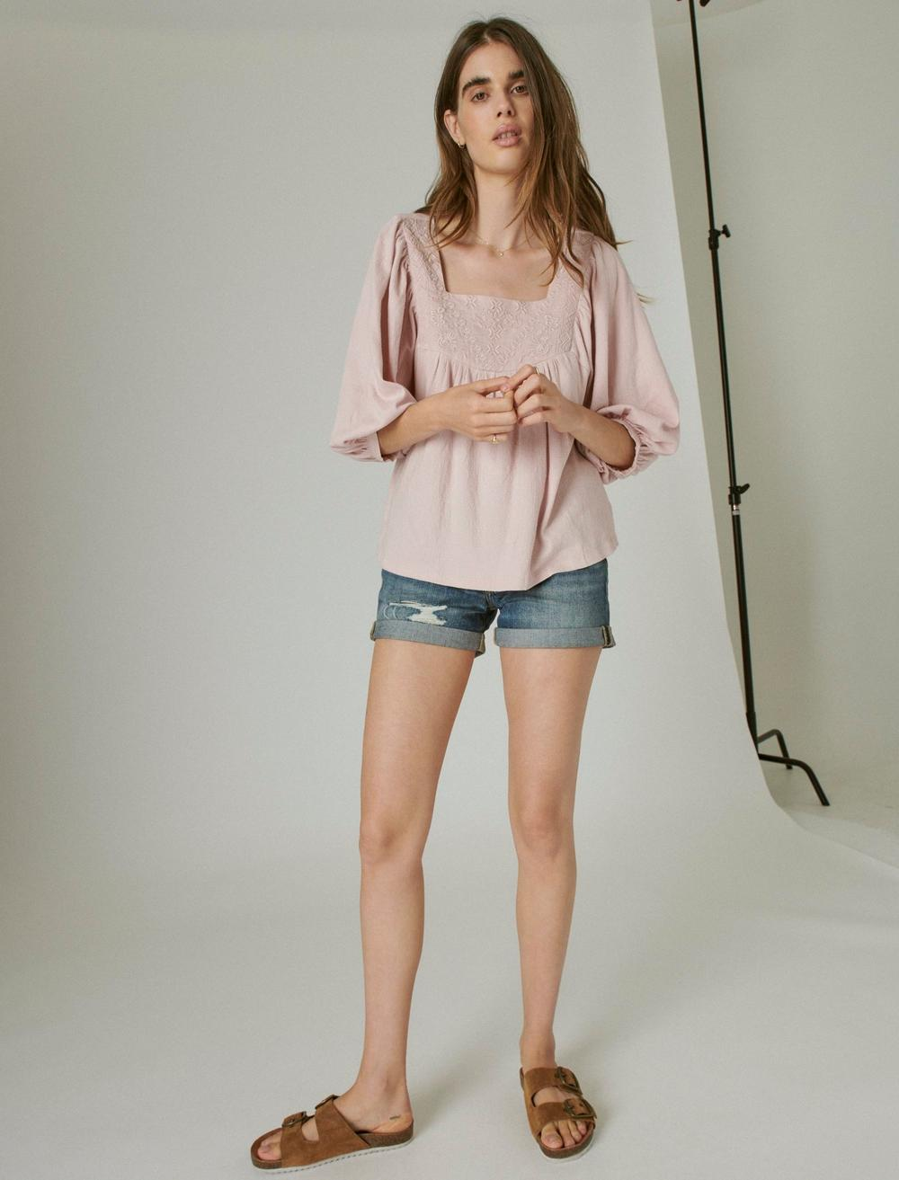 TONAL EMBROIDERED SQUARE NECK BLOUSE, image 6