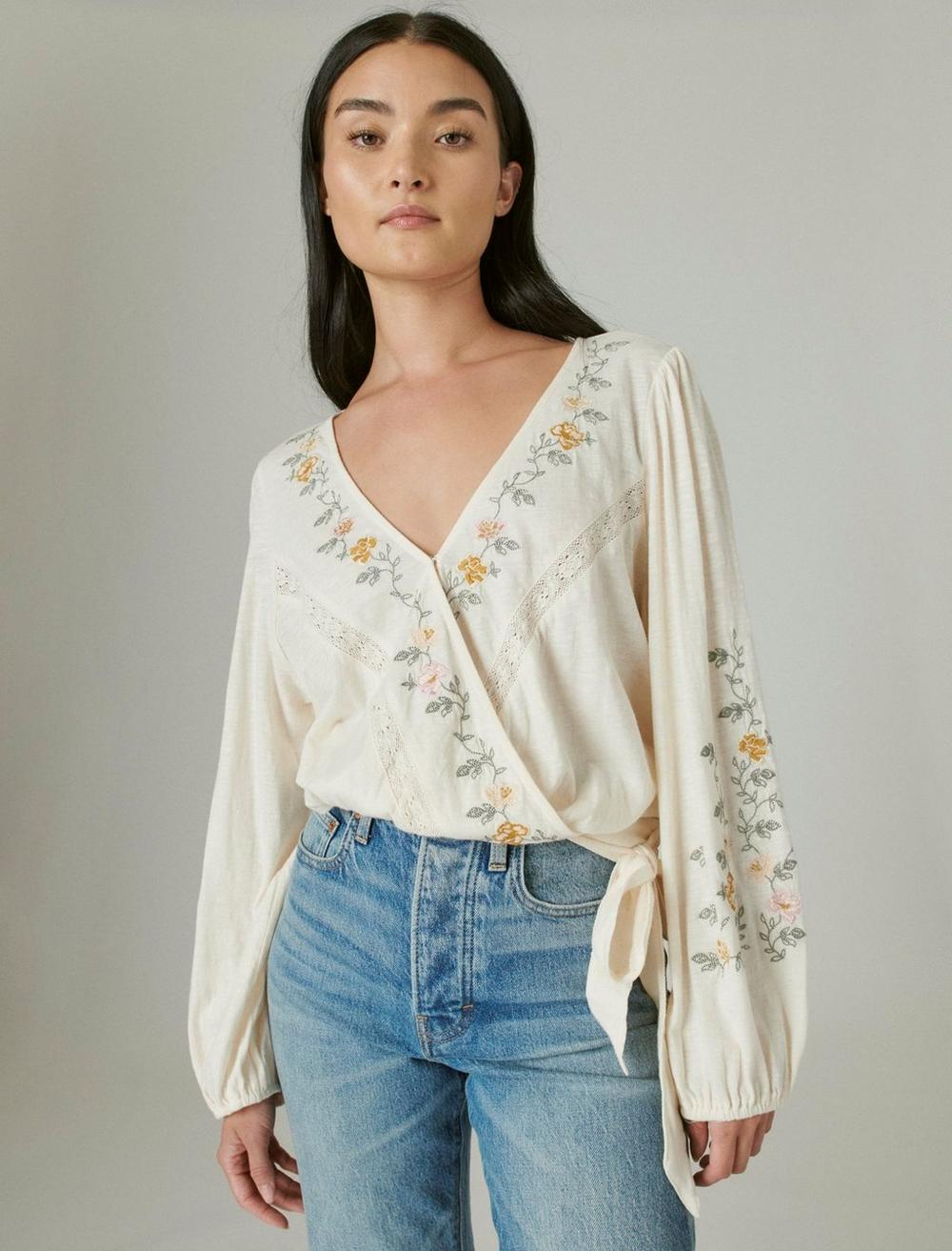 LONG SLEEVE EMBROIDERED SURPLICE WRAP TOP, image 1