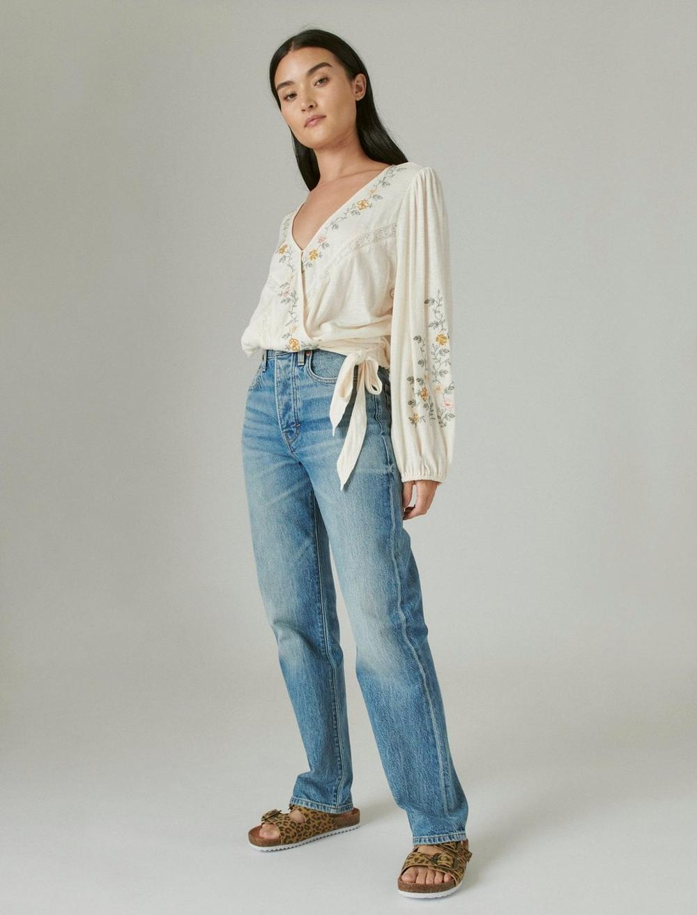 LONG SLEEVE EMBROIDERED SURPLICE WRAP TOP, image 2