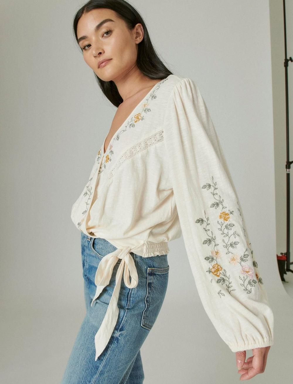 LONG SLEEVE EMBROIDERED SURPLICE WRAP TOP, image 3