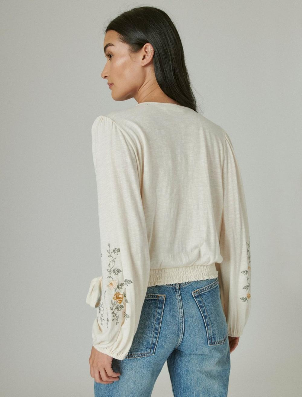 LONG SLEEVE EMBROIDERED SURPLICE WRAP TOP, image 4