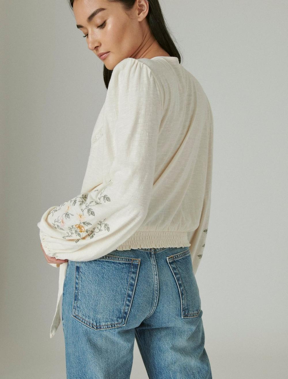 LONG SLEEVE EMBROIDERED SURPLICE WRAP TOP, image 6