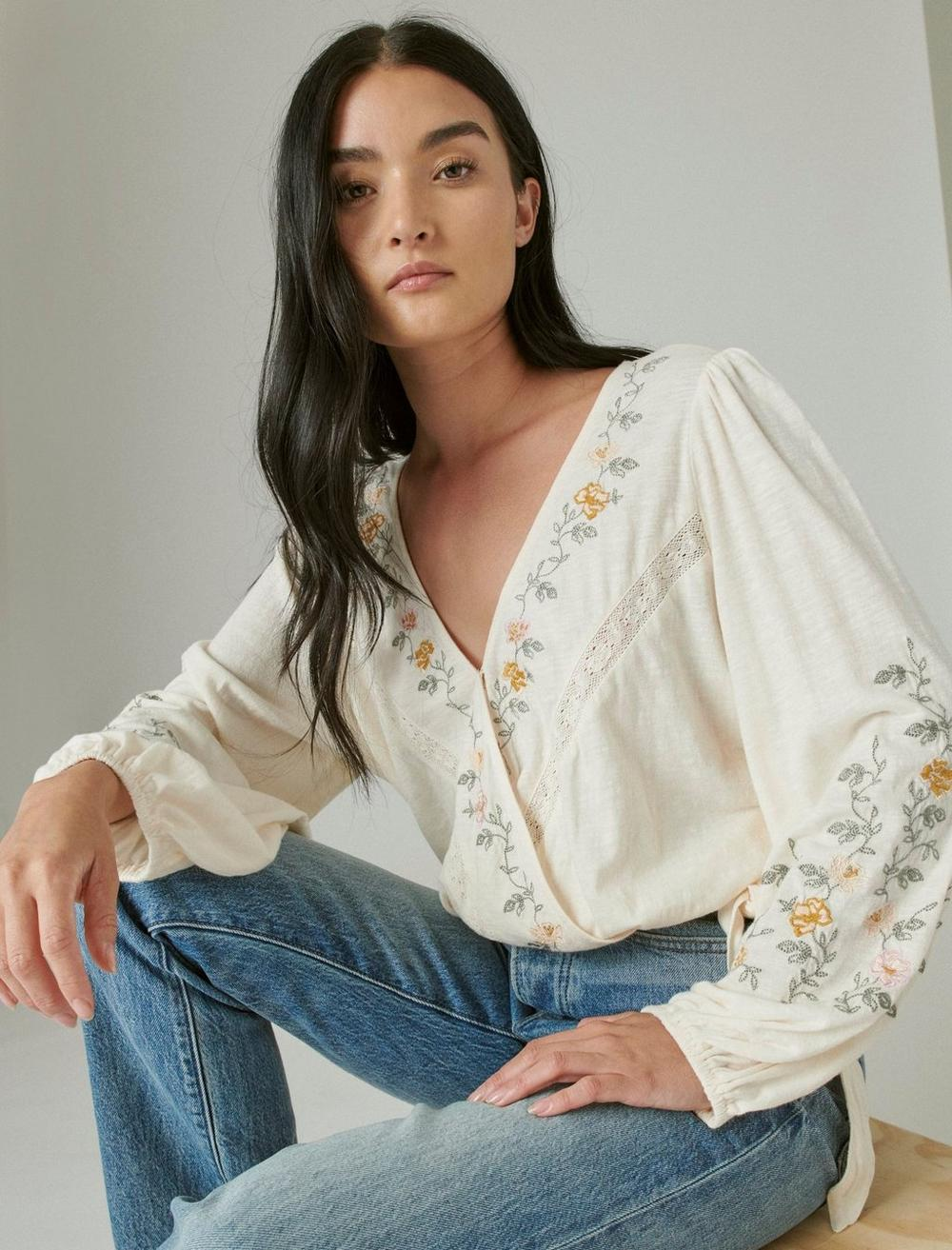 LONG SLEEVE EMBROIDERED SURPLICE WRAP TOP, image 7