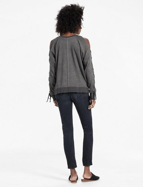 LACE UP SLEEVE PULLOVER, 001 LUCKY BLACK
