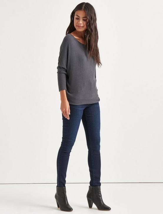 BRUSHED DOLMAN PULLOVER, CHARCOAL HEATHER, productTileDesktop