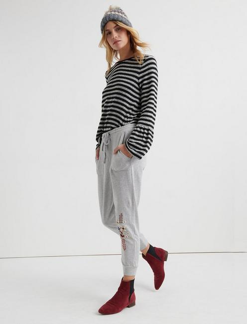 JOGGER PANTS WITH EMBROIDERY, GREY