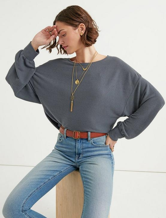 CLOUD JERSEY RIBBED DOLMAN PULLOVER, CHARCOAL, productTileDesktop