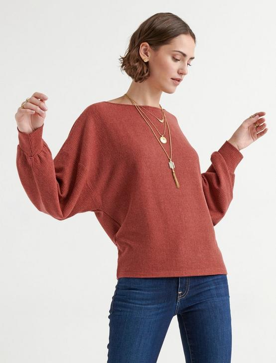 CLOUD JERSEY RIBBED DOLMAN PULLOVER, CHERRY MAHOGANY, productTileDesktop