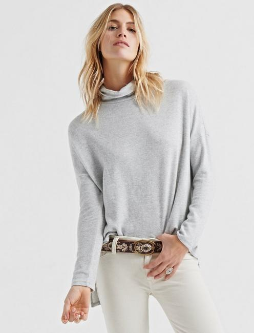 CLOUD JERSEY COWL NECK PULLOVER, HEATHER GREY