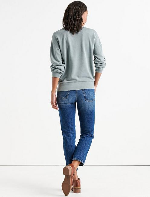 PLEAT FRONT PULLOVER, SILVER BLUE