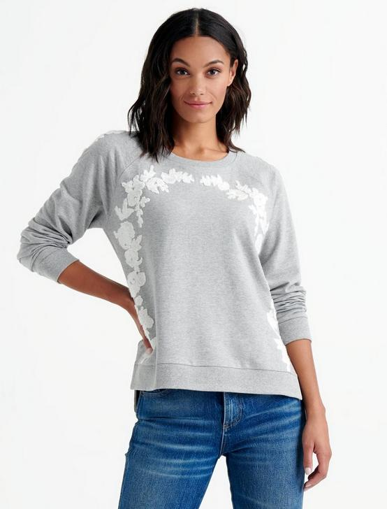 FLORAL CHENILLE SWEATSHIRT, GREY MULTI, productTileDesktop