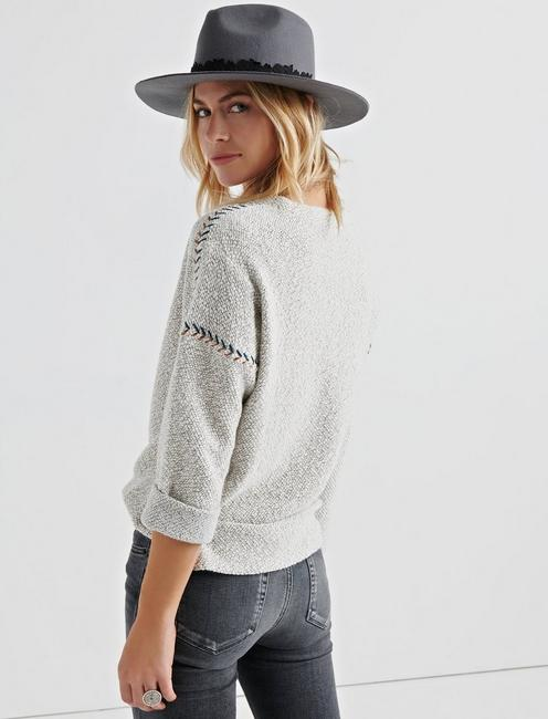 EMBROIDERED PULLOVER, NATURAL MULTI