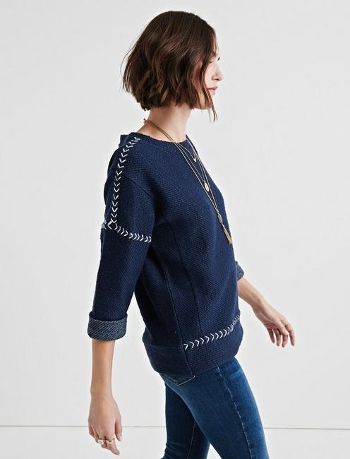 EMBROIDERED PULLOVER, NAVY MULTI