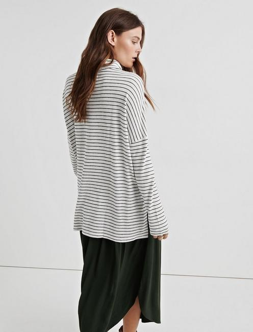 CLOUD JERSEY STRIPE COWL NECK, BLACK WHITE STRIPE