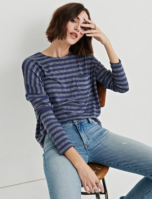 CLOUD JERSEY STRIPED POCKET PULLOVER, BLUE MULTI