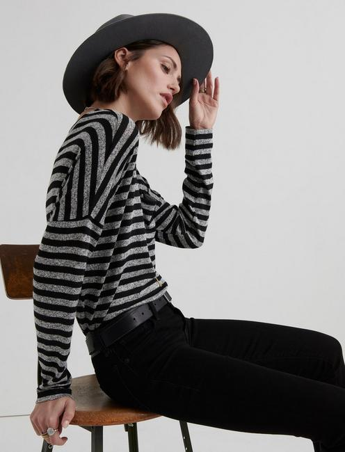 CLOUD JERSEY STRIPED POCKET PULLOVER, BLACK MULTI