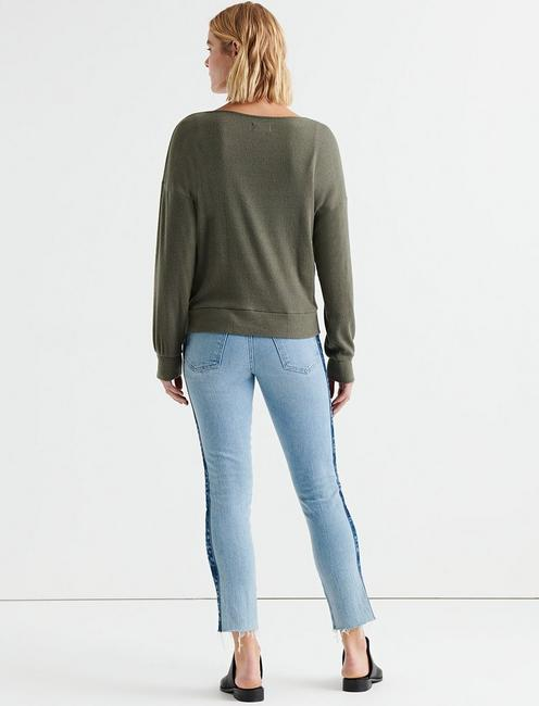 CLOUD JERSEY RIB PULLOVER, OLIVE NIGHT
