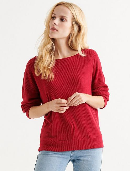 CLOUD JERSEY RIB PULLOVER, CHERRY RED