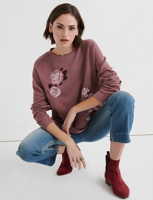 RAGLAN EMBROIDERED FLEECE SWEATSHIRT, ROSE TAUPE