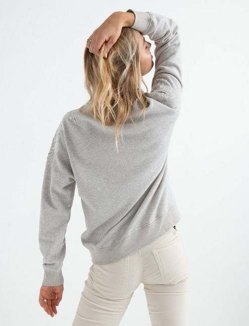 CUTOUT EMBROIDERED SWEATS, HEATHER GREY
