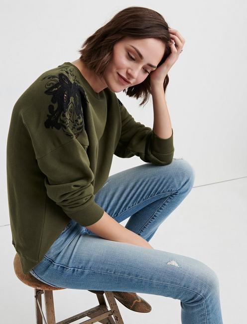 CUTOUT EMBROIDERED SWEATS, DEEP FORREST