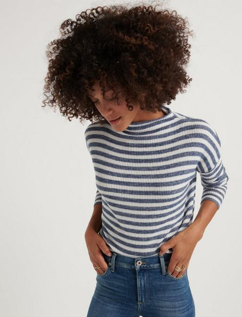 CLOUD JERSEY RIB STRIPE MOCK NECK, NAVY MULTI