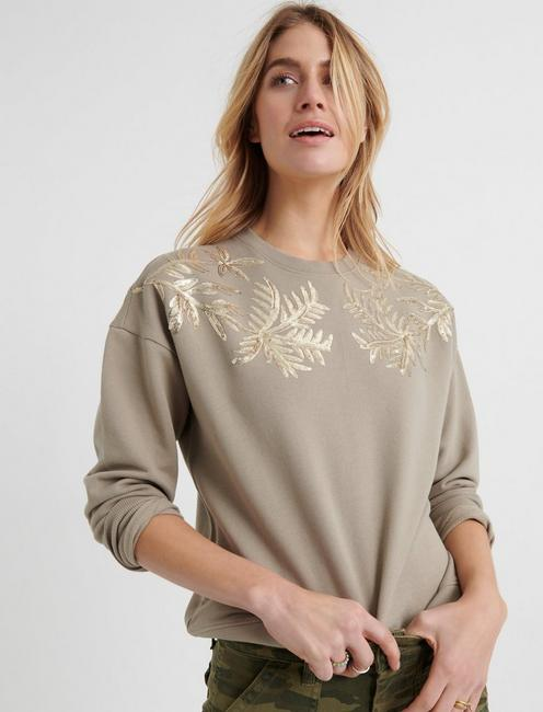 Sequin Leaf Pullover