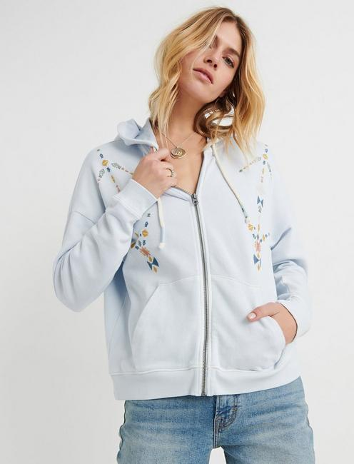 Geo Embroidered Zip Up