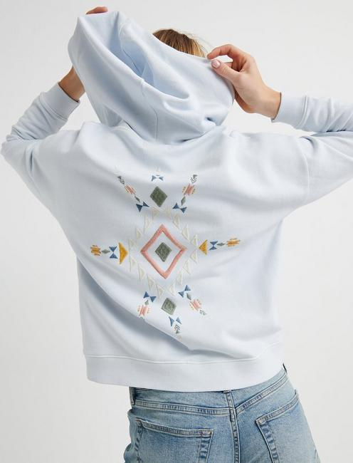 GEO EMBROIDERED ZIP UP, SKY BLUE
