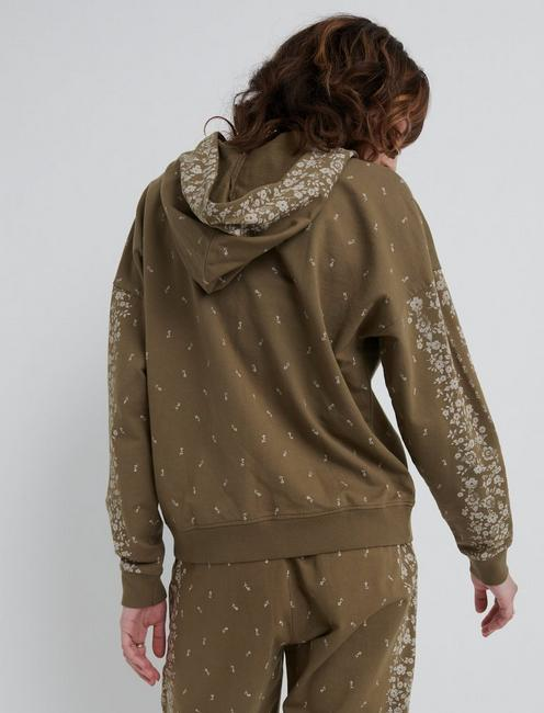 FLORAL PLACED HOODED ZIP UP, TARMAC